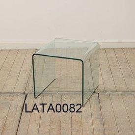 """36Cm Small Square Clear Curved Glass """"Rialto"""" Lamp Table"""