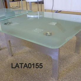 B Millie Frosted Glass And Steel Lamp Table