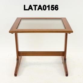 "Lge 23"" Mayers Sapele & Glass Nest Table"