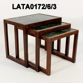 50'S Med Mahogany Green inlaid Nest Table
