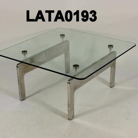 B Millie Square Glass & Steel Lamp Table