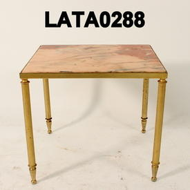 Sq.Pink Marble Brass Smooth  Leg Occ.Table