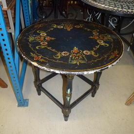 Circ Hand Painted Blue Spanish Occ Table