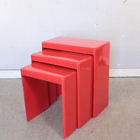 Red Lacquered Med Nest Table