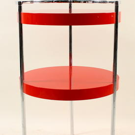 Circular Gamma Red Lacquer 2 Tier  Lamp Table