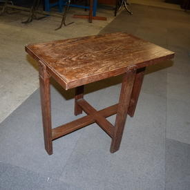 Small Oak Rec Cross Base Occasional Table