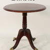 Mahogany  Inlay 2' Circular Pedestal Table On Brass Castors
