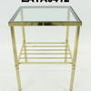 "18"" X 18"" Reeded Leg  Brass &  Glass Occ Table W Shelf"