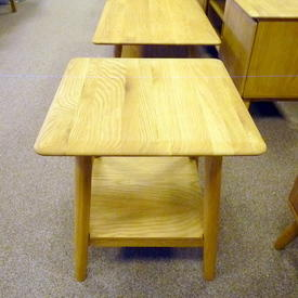 Malmo Solid Oak  50Cm Square 2 Tier Splay Leg Lamp  Table