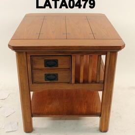 71X61Cm Artisan Oak Slatted & 1 Drawer Rect Lamp Table