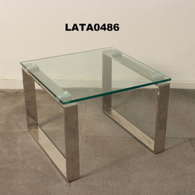 48Cm X 40Cm Omega Glass & Chrome Large Nest Table