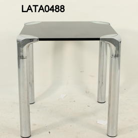 46Cm X 46Cm Black Glass & Chrome Polar Square Lamp Table