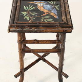 Dk Bamboo Tiled Top Kingfisher Patt Occ Table