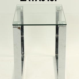 40Cm X 35Cm Omega Glass & Chrome Medium  Nest Table