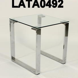 45Cm Square Omega Glass & Chrome Low Lamp Table