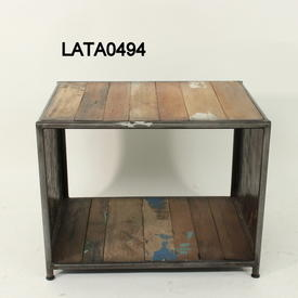 60Cm X 45Cm Boatwood & Galvanised Steel Rect Titanic  Lamp Table