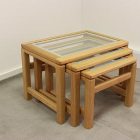 52Cm X 43Cm Amber French Oak & White Edge inset Glass Medium Nest Table