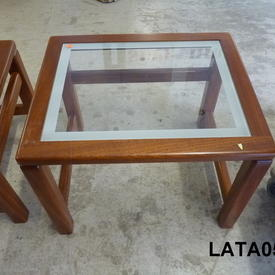 52Cmx43Cm Amber French Cherrywood & White Edge inset Class Medium Nest Table