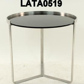 50Cm Circular Brushed Steel Black Glass Tri Leg Lamp Table