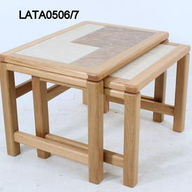 61Cm X 43Cm Amber French Oak inset Tile Top Large Nest Table