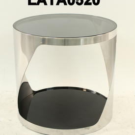 Circ Polished Twist Chrome & Black Glass Lamp Table