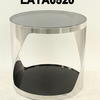 Circ Polished Twist Chrome & Black Glass Lamp Table