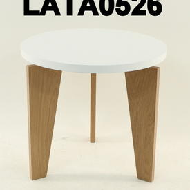 Circular Tema White  Top Oak Base Lamp Table