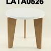 Circular Tema White  Top Oak Base Lamp Table