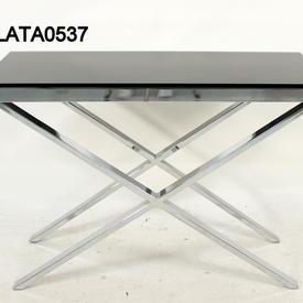 Zara Thick Chrome X Base Black Glass 60 X60 End Table