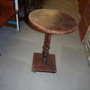 Worn Mahogany Turned Single Stem Circ Top Square Base Occ Table