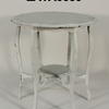 White Shaped Circ Top 2 Tier Cabriole Leg Occasional Table
