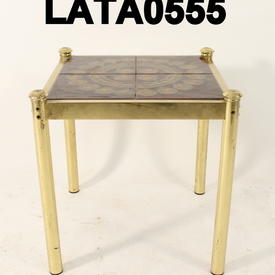 Brown Patt.Tile/Brass Lamp Table
