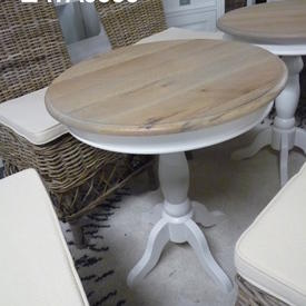 60Cm Circ Oak Top White Base Richmond Wine Table