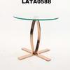 Rose Gold Base Circ Glass Top Lamp Table
