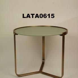 Chel 55Cm Circ Frosted Glass & Brass Cross Base Lamp Table
