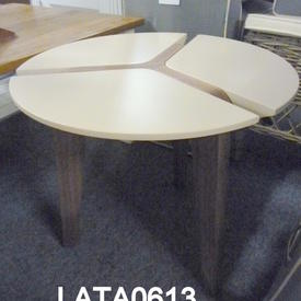 Chel 55Cm X 48Cm Cream & Walnut Leg Circular Lamp Table