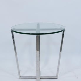 Chel 50Cm X 50Cm Steel & Glass Cross Base Lamp Table