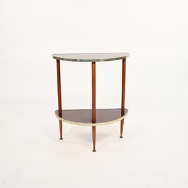 2 Tier Teak Formica Corner Lamp Table with Gilt Trim