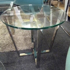 50cm Circular Chrome Crossed Base Lamp Table Glass Top