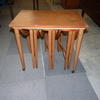 Large Teak Nest Table On Castors With 3 Drop Flap Pull Out Occ Tables [Nest Of 3]