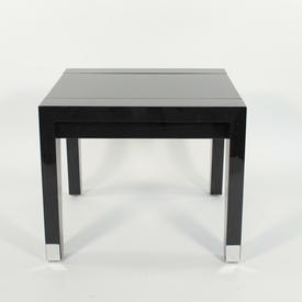 Vmf Gloss Black Oak Lewis Lamp Table With Blk Glass Inset