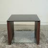 Blk Glass Top Walnut Side Atlanta Lamp Table