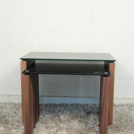 Vmf Blk Glass Top Walnut Side Atlanta Large Nest Table
