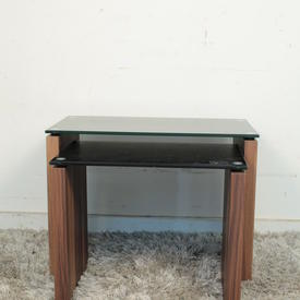 Vmf Blk Glass Top Walnut Side Atlanta Med Nest Table