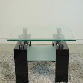 Vmf Blk Leg Clear/Frosted Glass 2 Tier Reno Lamp Table