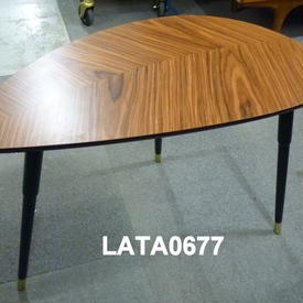 Faux Sapelle Leaf Shape Black & Brass Leg Occ Table