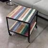 Sq Multi Colour 2 Wood With Metal Frame Lamp Table On Castor