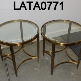 Circ Brass And Bevelled Glass Vmf Ritz Lamp Table