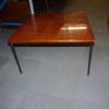 76cm Square Polished Teak Top Black Metal Tapered Leg Lamp Table
