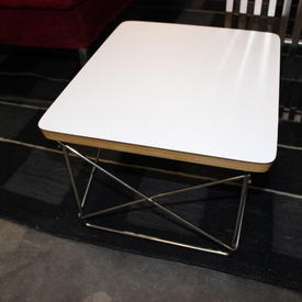 40Cmx34Cm White Top Polished Stainless Steel Base Charles Eames Side Table